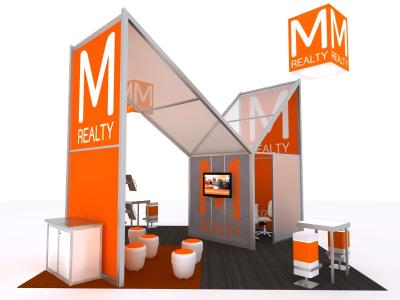 Custom Modular Hybrid Displays | Trade Show Island - 20 x 20 Version