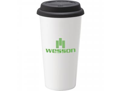 Promotional Giveaway Drinkware | Mega Double-Wall Ceramic Tumbler 15oz Black