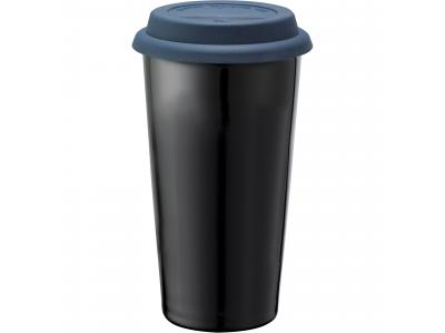 Promotional Giveaway Drinkware | Mega Double-Wall Ceramic Tumbler 15oz Blue-Blk