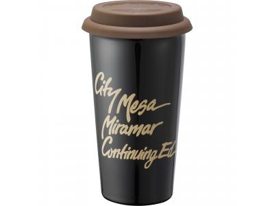 Promotional Giveaway Drinkware | Mega Double-Wall Ceramic Tumbler 15oz Brown-Blk