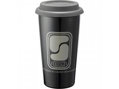 Promotional Giveaway Drinkware | Mega Double-Wall Ceramic Tumbler 15oz Grey-Blk