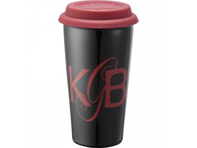 Promotional Giveaway Drinkware | Mega Double-Wall Ceramic Tumbler 15oz Red-Black