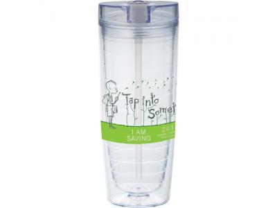 Promotional Giveaway Drinkware | Hot & Cold Flip N Sip Vortex Tumbler 20oz Clear
