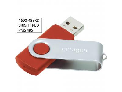 Promotional Giveaway Technology | Rotate Flash Drive 2GB Bright Red