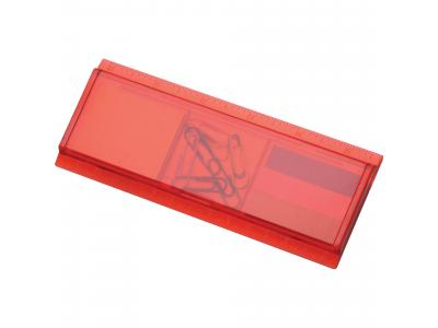 Promotional Giveaway Office | Work Rules Desk Organizer Translucent Red