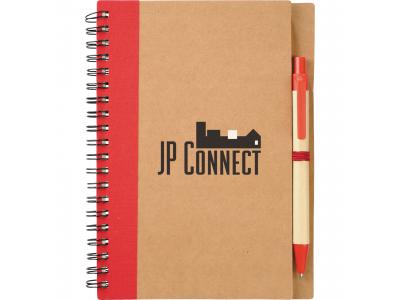 Promotional Giveaway Office | The Eco Spiral Notebook & Pen Red
