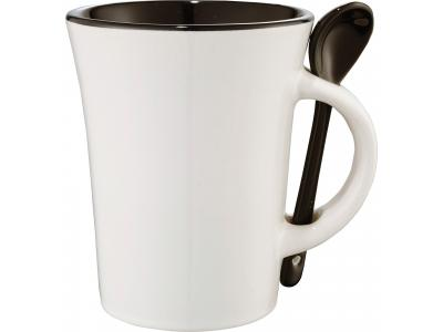 Promotional Giveaway Drinkware | Dolce 10-Oz. Ceramic Mug With Spoon Black Trim