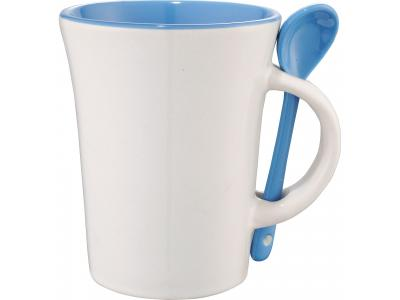 Promotional Giveaway Drinkware | Dolce 10-Oz. Ceramic Mug With Spoon Blue Trim