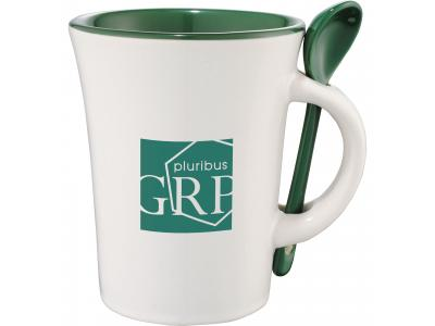 Promotional Giveaway Drinkware | Dolce 10-Oz. Ceramic Mug With Spoon Green Trim
