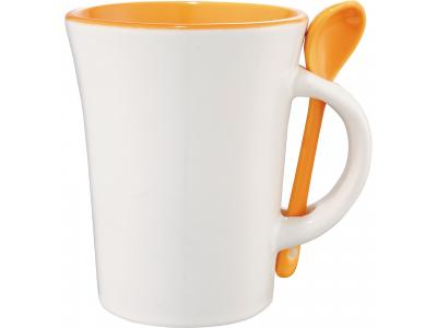 Promotional Giveaway Drinkware | Dolce 10-Oz. Ceramic Mug With Spoon Orange Trim