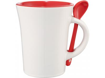 Promotional Giveaway Drinkware | Dolce 10-Oz. Ceramic Mug With Spoon Red Trim
