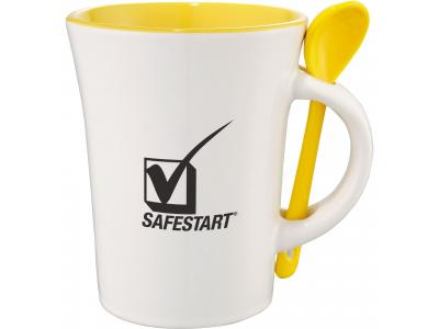 Promotional Giveaway Drinkware | Dolce 10-Oz. Ceramic Mug With Spoon Yellow Trim