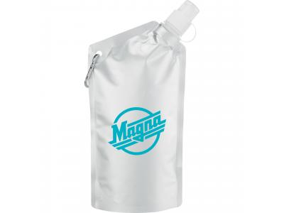 Promotional Giveaway Drinkware | Cabo 20-Oz. Water Bag With Carabiner Metal Grey