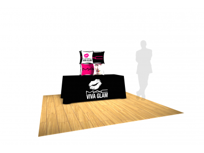 Pop Up Table Top Display   SalesMate 2x2 E with Table Throw