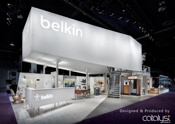 Belkin trade show display booth courtesy of Catalyst Exhibits